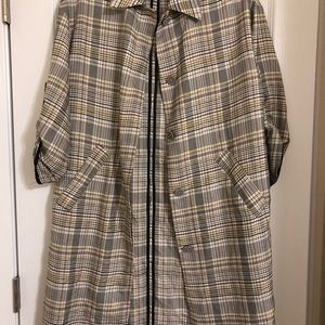 Plaid Button Front Trench